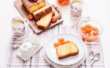 фрукты, чай, выпечка, цитрусы, кекс, кумкват