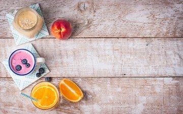 fruit, blueberries, breakfast, peach, orange juice, yogurt, smoothies, wooden surface