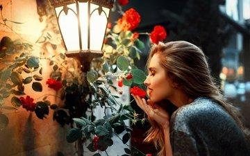 цветы, девушка, профиль, фонарь, волосы, лицо, закрытые глаза, kaan altindal