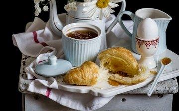 flowers, daisy, jam, breakfast, egg, croissant, gypsophila