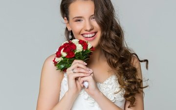 flowers, background, dress, smile, portrait, joy, bouquet, happiness, makeup, hairstyle, in white, the bride, brown hair