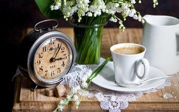 цветы, кофе, часы, ландыши, букет, чашка, салфетка, будильник