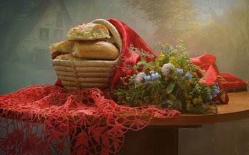 цветы, букет, салфетка, выпечка, корзинка, натюрморт, булочки, пирожки