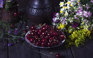 flowers, summer, cherry, berries, wildflowers, scissors, still life, wooden surface