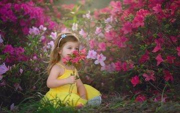 цветы, природа, настроение, кусты, лето, девочка, ребенок, детство, сарафан, малышка
