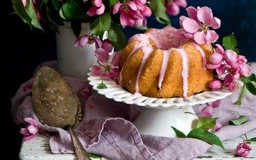 цветы, яблоня, выпечка, пирог, ложка, скатерть, кулич, кекс, anna verdina, крем