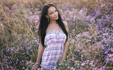 flowers, girl, dress, smile, brunette, look, meadow, hair, face, bare shoulders, angelina petrova