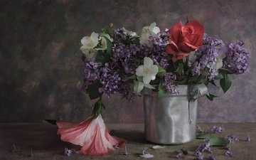 flowers, roses, rose, bouquet, lilac, still life, hibiscus, jasmine