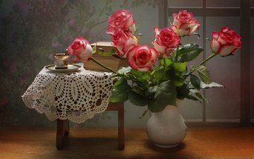 flowers, roses, books, saucer, bouquet, cup, vase, napkin, stool