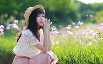 flowers, grass, girl, look, meadow, hair, face, hat, asian, bokeh, kosmeya