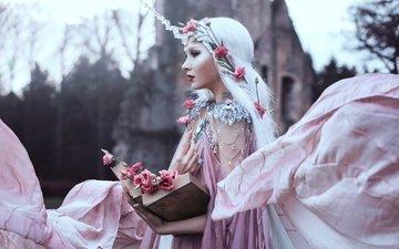 цветы, украшения, девушка, профиль, книга, bella kotak, maria amanda lindqvist thomassen, sweet blush of rose