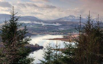 небо, облака, деревья, озеро, горы, пейзаж, шотландия