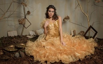 деревья, девушка, платье, взгляд, книги, модель, волосы, лицо, студия, рамки, яна