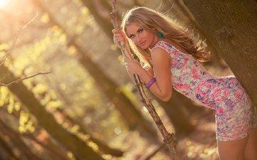 деревья, солнце, лес, украшения, платье, блондинка, портрет, макияж, прическа, фигура, красотка, фотосессия, ракурс, боке, jan te bont
