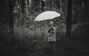 nature, forest, black and white, children, girl, umbrella, child, gas mask