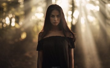 girl, brunette, look, model, the sun's rays, martin kuhn, marlen alvarez valderrama