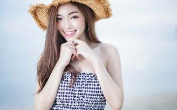girl, mood, background, smile, hands, hat, asian