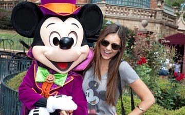 girl, mood, park, smile, glasses, joy, nina dobrev, mickey mouse