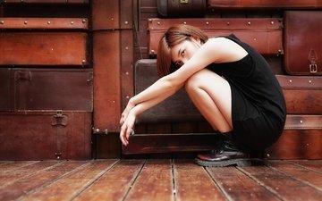 девушка, взгляд, ножки, волосы, лицо, азиатка, ботинки, чемоданы, brode十三
