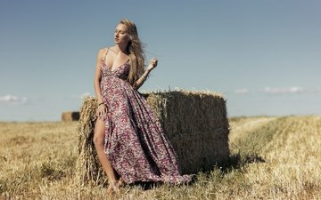 девушка, платье, поле, модель, солома, monica cenedese