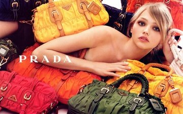 girl, blonde, look, model, hair, face, bags, prada, sasha pivovarova, bare shoulder