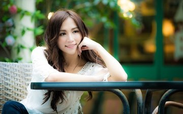 девушка, улыбка, взгляд, волосы, лицо, азиатка, боке