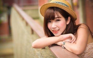 девушка, улыбка, взгляд, волосы, лицо, браслет, шляпа, азиатка