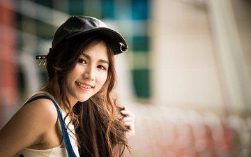 девушка, улыбка, взгляд, волосы, азиатка, кепка, боке