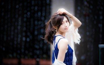 девушка, улыбка, взгляд, модель, лицо, азиатка, боке, kerina