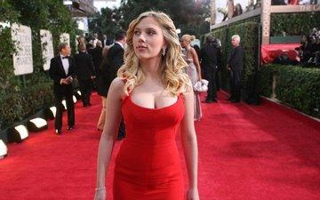девушка, взгляд, модель, волосы, лицо, актриса, фигура, красное платье, сёрьги, скарлет йохансон