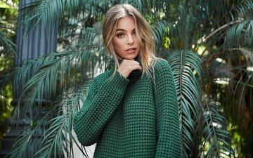 девушка, взгляд, пальмы, модель, элизабет тернер, nelly lookbook