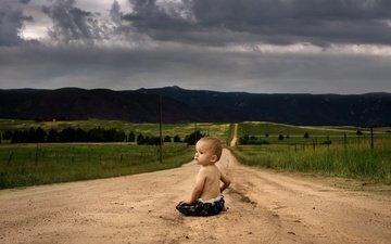дорога, дети, ребенок, мальчик