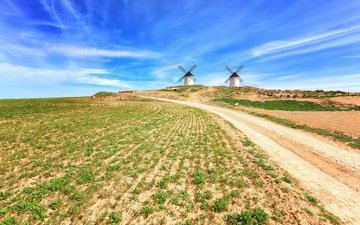 the sky, road, clouds, field, summer, mill, molinos, castilla la mancha
