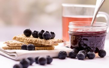 jam, berries, blueberries, honey, cookies