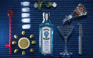 джин, лёд, бокал, лимон, бутылка, оливки, мартини