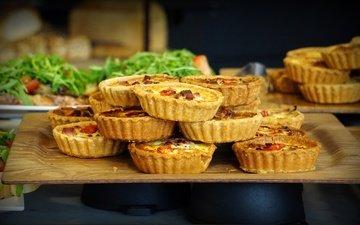greens, food, vegetables, cakes, filling, tartlets