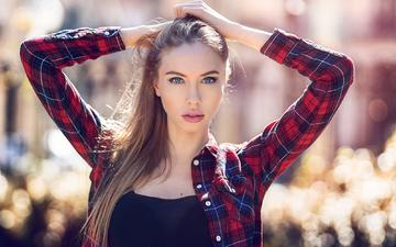 girl, pose, look, hair, face, makeup, shirt, ekaterina, david mas