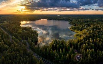 the sky, road, clouds, trees, lake, forest, finland, lake kerava, mäntsälä