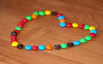 фон, еда, разноцветные, конфеты, сердце, драже, m & ms