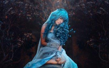 девушка, фон, платье, взгляд, модель, волосы, лицо, ева, голубые волосы, косплей
