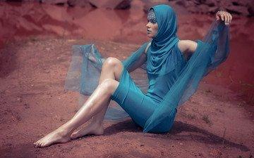 девушка, фон, платье, поза, модель, профиль, ножки, ткань, губы, лицо, макияж, хиджаб