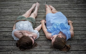 background, pose, girls, feet, lying, wooden surface
