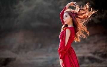 girl, background, pose, smile, look, hair, face, the wind, asian, red dress