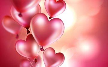 background, balls, hearts, balloons
