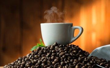 фон, зерна, кофе, чашка, пар, кофейные зерна, совок