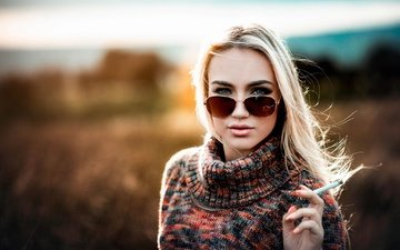 girl, blonde, glasses, makeup, cigarette, sweater, carlos, marhraoui