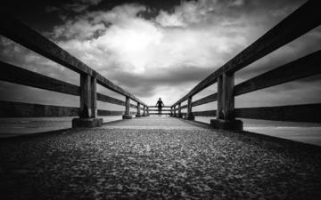 the sky, clouds, sea, black and white, pier, people, silhouette, marina, free, christophe staelens
