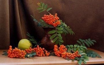 листья, фрукты, яблоки, ягоды, плоды, ваза, натюрморт, рябина
