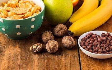 орехи, фрукты, яблоки, апельсины, завтрак, бананы, цитрусы, хлопья, сок