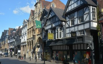 the city, street, england, building, chester